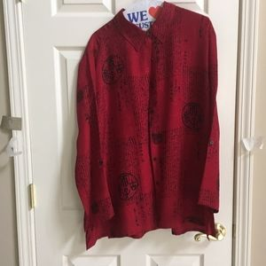 Chico Design Red Silk Blouse Size 3 {Large}